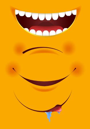 Smile constructor cartoon emoticon emoji yellow smiles mouth vector icons set Illustration