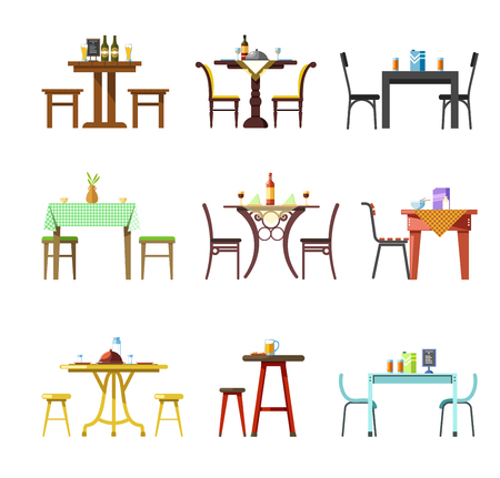 Tables and chairs vector icons of resturant, cafe or bistro served with food and drinks, tableware glasses and plates or cutlery. Isolated set of kitchen tables for pub or bar