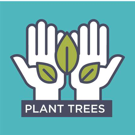 Plant trees agitative eco poster with hands that hold leaves isolated cartoon flat vector illustration on blue background. Save environment and increase quality of oxygen advertisement banner. Illustration