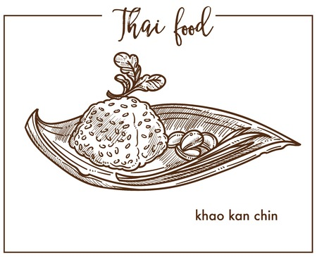 Khao kan chin served on leaf from Thai food Illustration