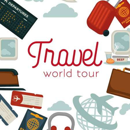 Travel and airplane world trip poster vector flat design of traveler luggage and passport Vettoriali