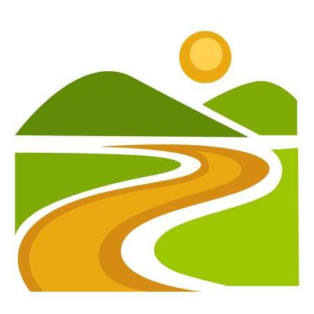 Landscape with wide green field and long path Ilustração Vetorial