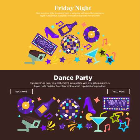 Dance party at friday night promotional Internet posters set Illustration