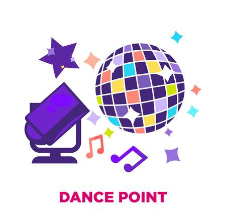 Dance point promotional poster with shiny disco ball Illustration