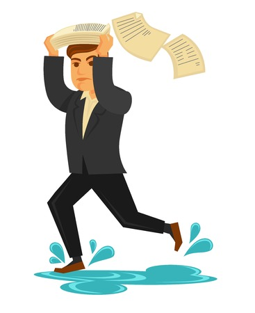 Man in suit runs under rain and cover his head Illustration
