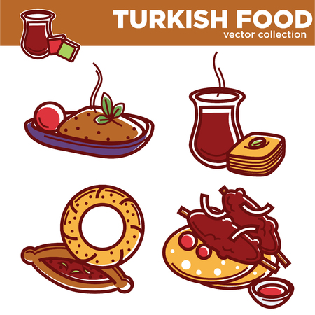 Turkish food vector collection with delicious hot dishes. Rice with spices, sweet baklava and tea, traditional bakery products and meat on skewer with pita bread isolated cartoon vector illustrations. Stock Vector - 94900551