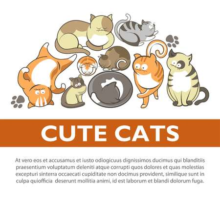 Funny cartoon cute cats and kittens playing poster. Vector flat design of funny cheerful kits and cats sleeping, play clew or smiling and comic posing Illustration