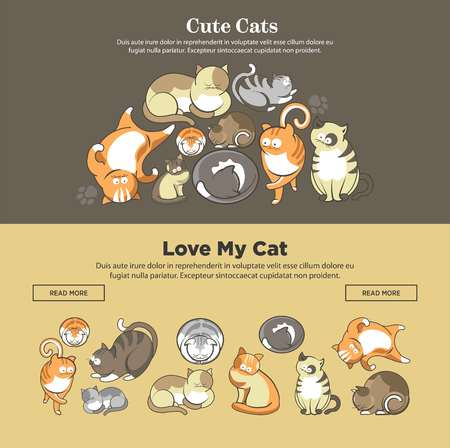 Cute cartoon cats and kittens playing, sleeping or posing web banner template. Vector flat design of funny cheerful kits and cats play with paw or tail and comic looking