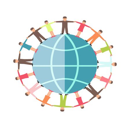 People hand in hand on earth planet icon for charity and donation social help concept. Vector flat design of helping hands for human care and protection fund or organization template