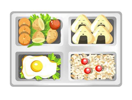 Lunch box of Japanese bento meals sushi rolls, eggs and rice with salad. Vector isolated flat icon of lunchbox with food for healthy eating or diet nutrition, breakfast or dinner in plastic container