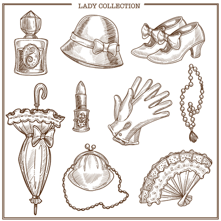Lady retro clothes and vintage fashion accessories vector sketch icons collection. Isolated set of woman bonnet hat, umbrella and gloves or shoes, lipstick and perfume or fan and necklace jewelry Illustration