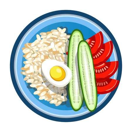 Lunch box with meals of fried egg, rice garnish and vegetables salad. Vector isolated flat icon of lunchbox with food for healthy eating or diet nutrition, breakfast or dinner in round plastic plate