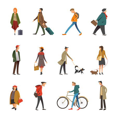 People in daily life outdoor activity icons. Vector flat set of young and adult woman or man walking dog or riding bicycle and holding travel or shopping bag, businessman and boy in casual clothes Çizim