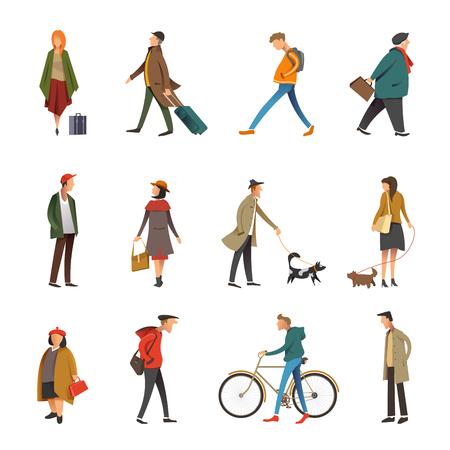 Persone nella vita quotidiana icone attività all'aperto. Insieme piano di vettore del cane da passeggio giovane e adulto della donna o dell'uomo o andare in bicicletta e tenendo il viaggio o la borsa della spesa, uomo d'affari e ragazzo in abbigliamento casual Vettoriali