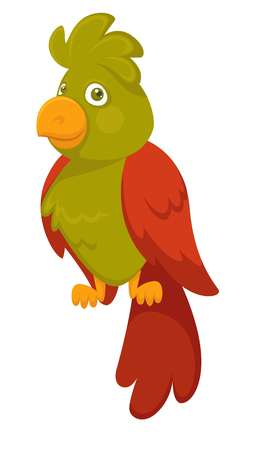 Parrot cartoon pet bird vector flat icon. Isolated funny parrot for kid, children or zoo, veterinary doctor and vet clinic design template