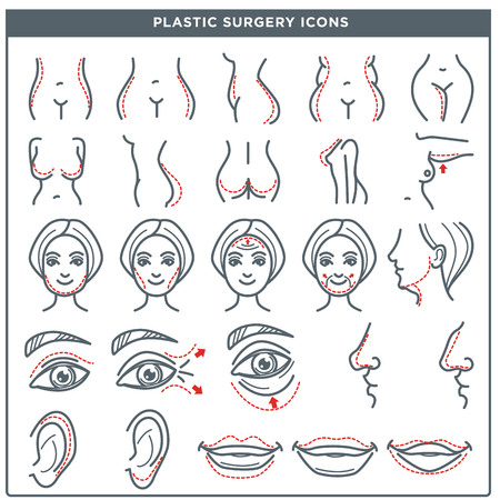 Plastic surgery line icons for woman body and face. Vector isolated set of woman beauty cosmetic operation for nose, eyes and lips, hips and breast for plastic surgery medical infographic