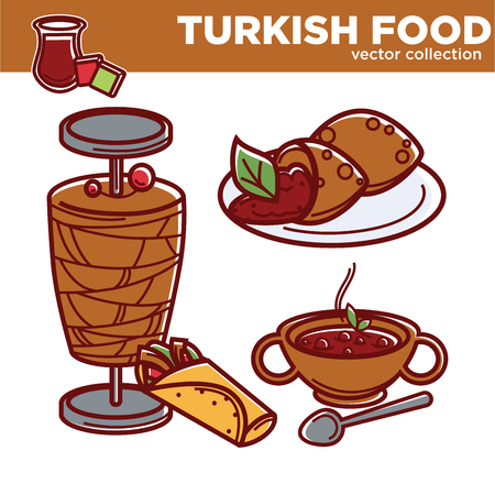 Turkish food dishes collection icons of traditional Turkey cuisine restaurant menu. Turkish meat kebab or doner snack, gezleme soup or lula kebab and kefte or tea isolated set