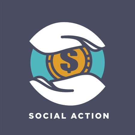 Hand and money coin icon template for social donation and charity fund action concept. Vector isolated flat icon of hands and gold coin for medical and volunteering support or care design Illustration