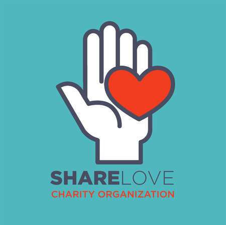 Hand and heart icon template for social donation and charity action organization. Vector isolated flat icon of hand and red heart for medical and volunteering support or blood donor design Illustration