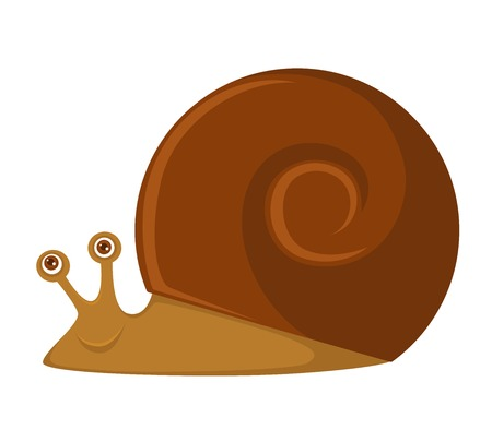 Snail with big brown round shell and friendly face.