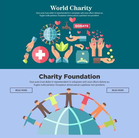 World charity foundation promotional Internet posters set with people hold hands around globe, human palms, big cross, red hearts, clean water, green leaves and gold coins vector illustrations.
