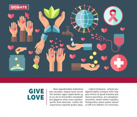 Give love agitative poster for join to charity Illusztráció