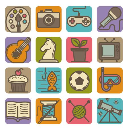 Grafische kunst, intellectuele en computergames, tv-programma's, moderne muziek, kamerplanten, kooklessen, actieve sport, creatief handwerk en interessante wetenschap geïsoleerde vectorillustraties. Stockfoto - 94983748