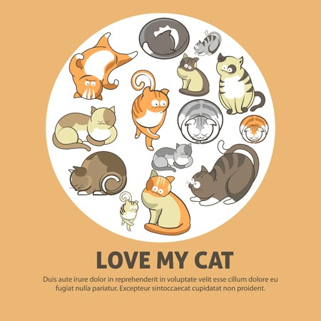 Love my cat promotional poster with cute pets