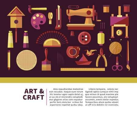 Art and craft promotional info poster with special equipment Stock Illustratie