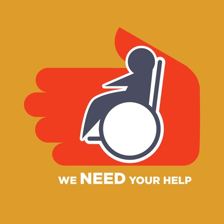 We need your help agitative poster to help for disable people. Foto de archivo - 94985880