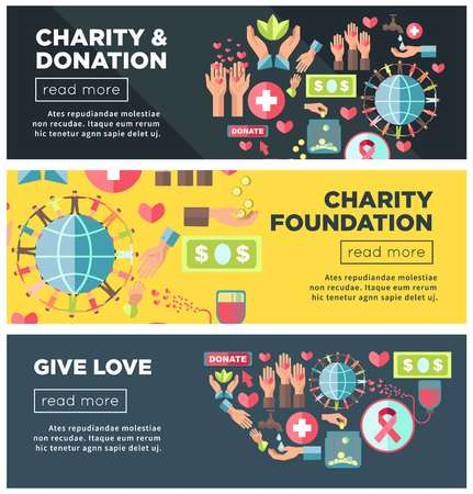 Charity and donation foundation promo Internet posters templates