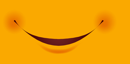 Broad friendly smile with small red cheeks as part of smiley constructor. Facial part of artificial character that expresses cheerful mood cartoon flat vector illustration on yellow background.