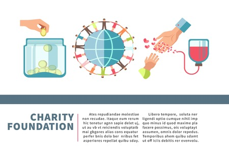 Charity foundation poster for blood and money donation fund vector flat design Illustration