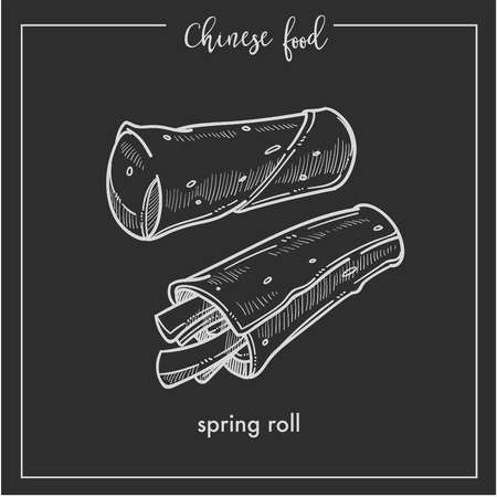 Chinese food chalk sketch spring roll for China Asian cuisine restaurant menu or recipe design on black background Vectores