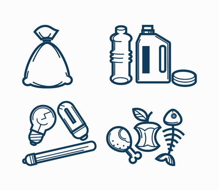 Garbage wastes trash line vector icons set of toxic, electronic plastic and food recycling garbage