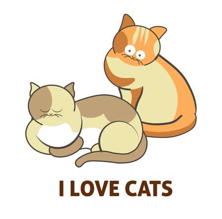 I love cute cats pets or kittens playing or posing vector flat icon
