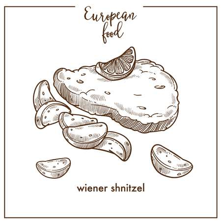 Wiener schnitzel sketch icon for European German Austrian food cuisine menu design