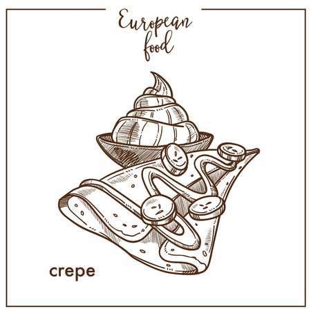 Crepe pancake sketch icon for European French food cuisine cafe dessert menu design Vectores