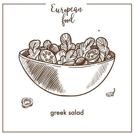 Icono de esbozo de ensalada griega para el diseño del menú de cocina de comida mediterránea europea
