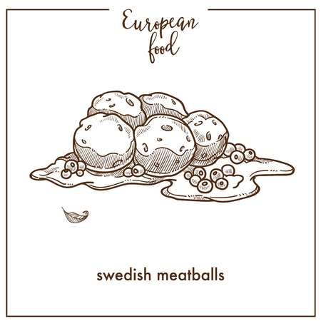 Boulettes de viande suédoises croquis icône pour la conception de menus de cuisine alimentaire européenne Vecteurs