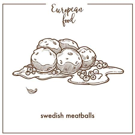 Swedish meatballs sketch icon for European food cuisine menu design