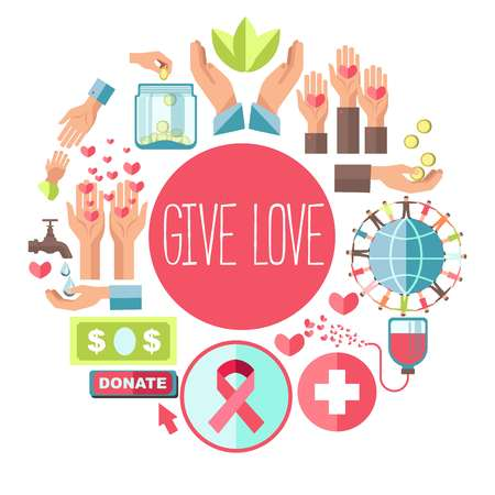 Give love social charity vector poster for blood donation and volunteer fund organization