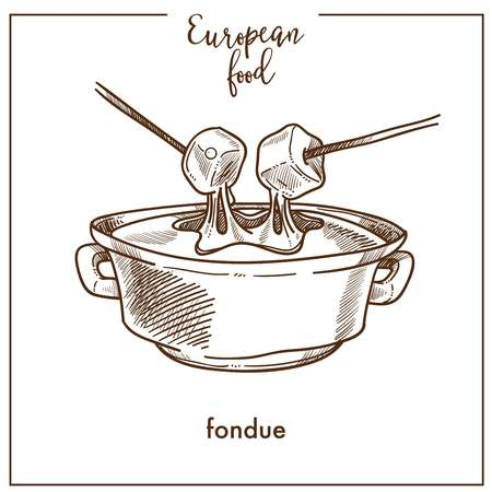 Fondue sketch icon for European Swiss food cuisine menu design