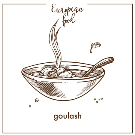 Goulash soup sketch icon for European Hungarian ood cuisine menu design Illustration