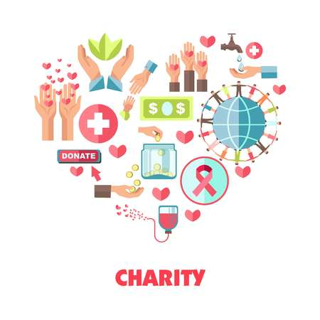 Charity themed icons set in big heart shape Illustration