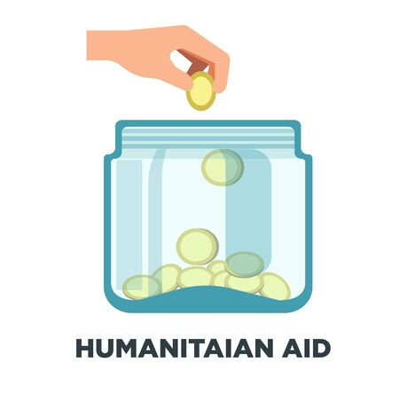 Humanitarian aid promotional logotype with jar full of coins