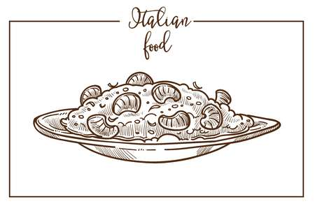 Risotto sketch vector icon for Italian cuisine food menu design 向量圖像