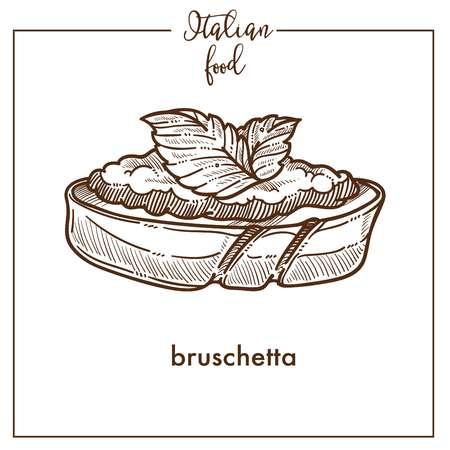 Bruschetta snack sketch vector icon for Italian cuisine food menu design 일러스트