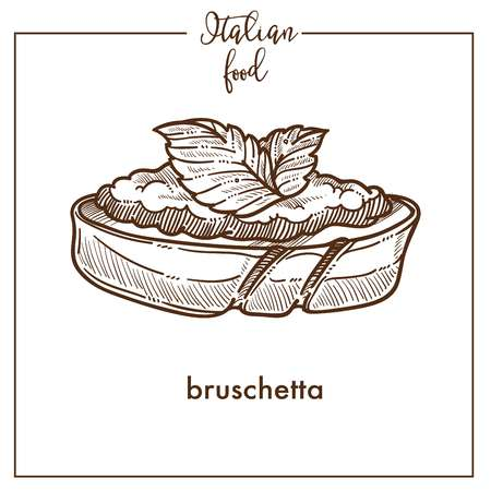 Bruschetta snack sketch vector icon for Italian cuisine food menu design Vectores