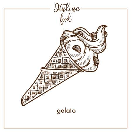 Gelato ice cream wafer cone sketch vector icon for Italian gelateria dessert cuisine food menu design Ilustração